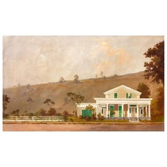 Greek Revival Farm House 19th Century Oil Painting