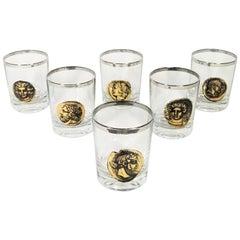 Greek Roman Gods Midcentury Glassware Barware Made in France Set of 6