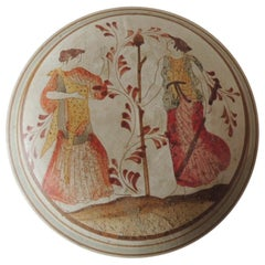 Greek Round Hand Painted Brown and Orange Trinket Lidded Box