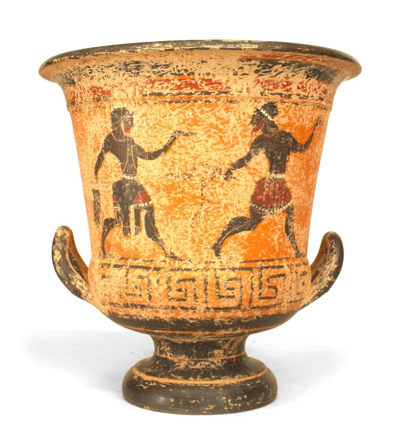 Greek style (20th century) black figure painted terracotta urn (calyx krater) with handles.