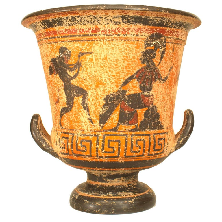 Greek Style '20th Century' Black Figure Painted Terracotta Urn For Sale
