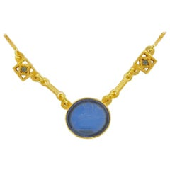 Greek Style Intaglio and Crystal Necklace