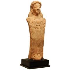 Greek Terracotta Votive Herm of a Goddess