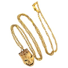 Greek Theater Mask Sapphire Yellow Gold Charm Pendant Necklace