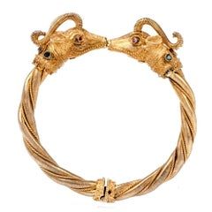 Greek Vintage Double Ram's Head Gold Bangle Bracelet