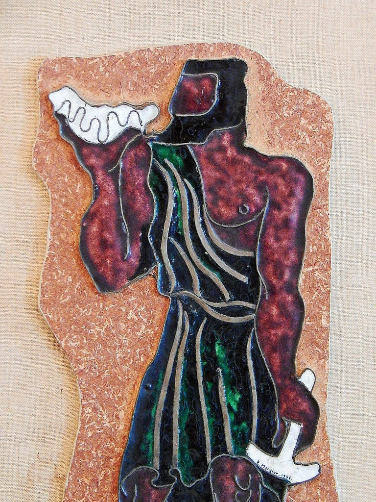 Created by Paul Mergier, one of France's great metalworkers and enamelists in the Art Deco period -- with an especially strong reputation for dinanderie or mixed-metal work -- this enamel and copper panel dates from the 1950s, and shows the
