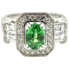 Green 1.33 Carat Tsavorite with Diamond Mounting Ring 14 Karat White Gold