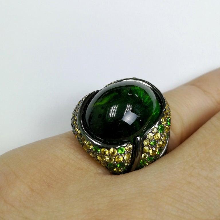 Green 23.30 Carat Tourmaline Yellow Sapphire Tsavorite 18 Karat Black Gold Ring For Sale 5