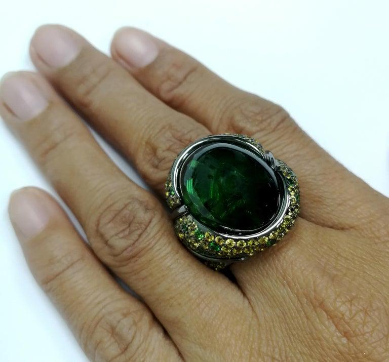Green 23.30 Carat Tourmaline Yellow Sapphire Tsavorite 18 Karat Black Gold Ring In New Condition For Sale In Bangkok, TH