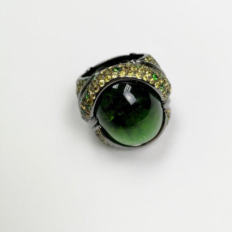 Green 23.30 Carat Tourmaline Yellow Sapphire Tsavorite 18 Karat Black Gold Ring For Sale 2