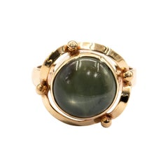 Green 6 Ray Round Natural Star Sapphire 18 Carat Yellow Gold Vintage Ring
