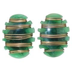 Green Acrylic & Brass Wire Modernist Clip On Earrings, 1980's