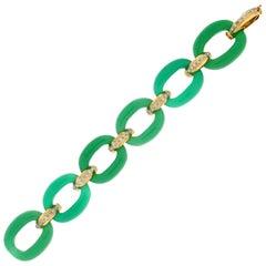 Green Agate, 14 Karat Yellow Gold, Diamonds Cuff Bracelet