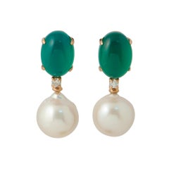 Green Agate, Baroque Pearl and White Diamonds Dangling Earrings in Yellow Gold