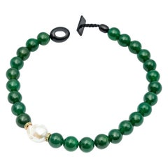 Green Agate Beads Necklace Accompanied by Baroque Pearl and 0.32 Ct of Tsavorite