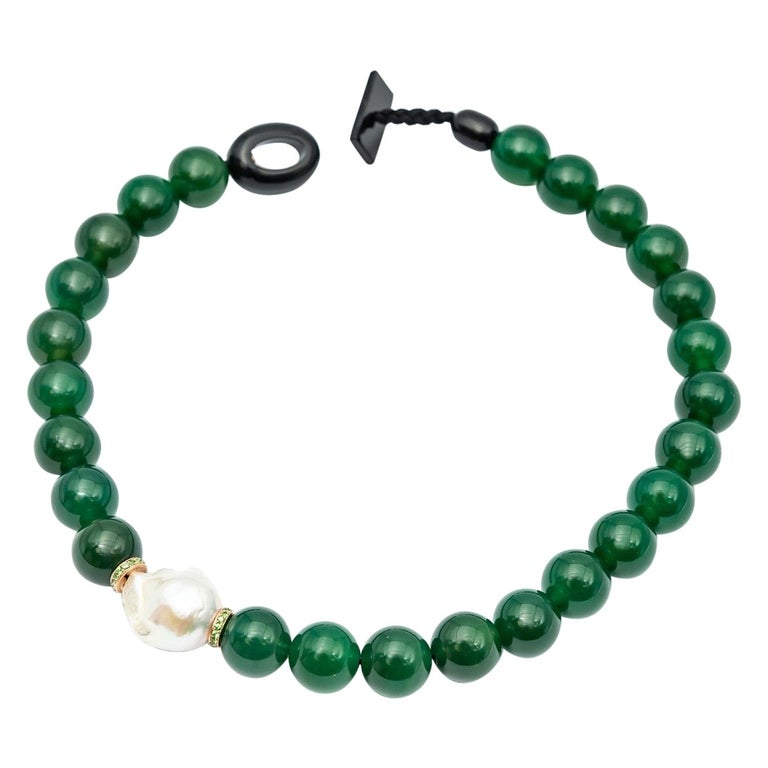 Green Agate Beads Necklace Accompanied by Baroque Pearl and 0.32 Ct of Tsavorite For Sale