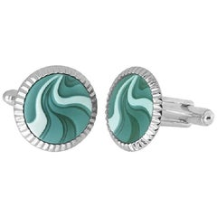 Green Agate Chalcedony Gemstone Carving Sterling Silver Cufflinks
