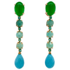 Green Agate, Emeralds, Turquoise on Yellow Gold 18 Karat Chandelier Earrings