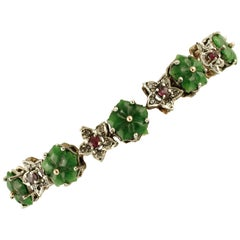Green Agate Flowers, Rubies, Diamonds, 9 Karat Rose Gold and Silver Bracelet
