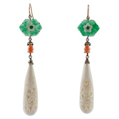 Green Agate, White Hard Stones, Coral, Emeralds, Diamonds, Rose Gold and Silver