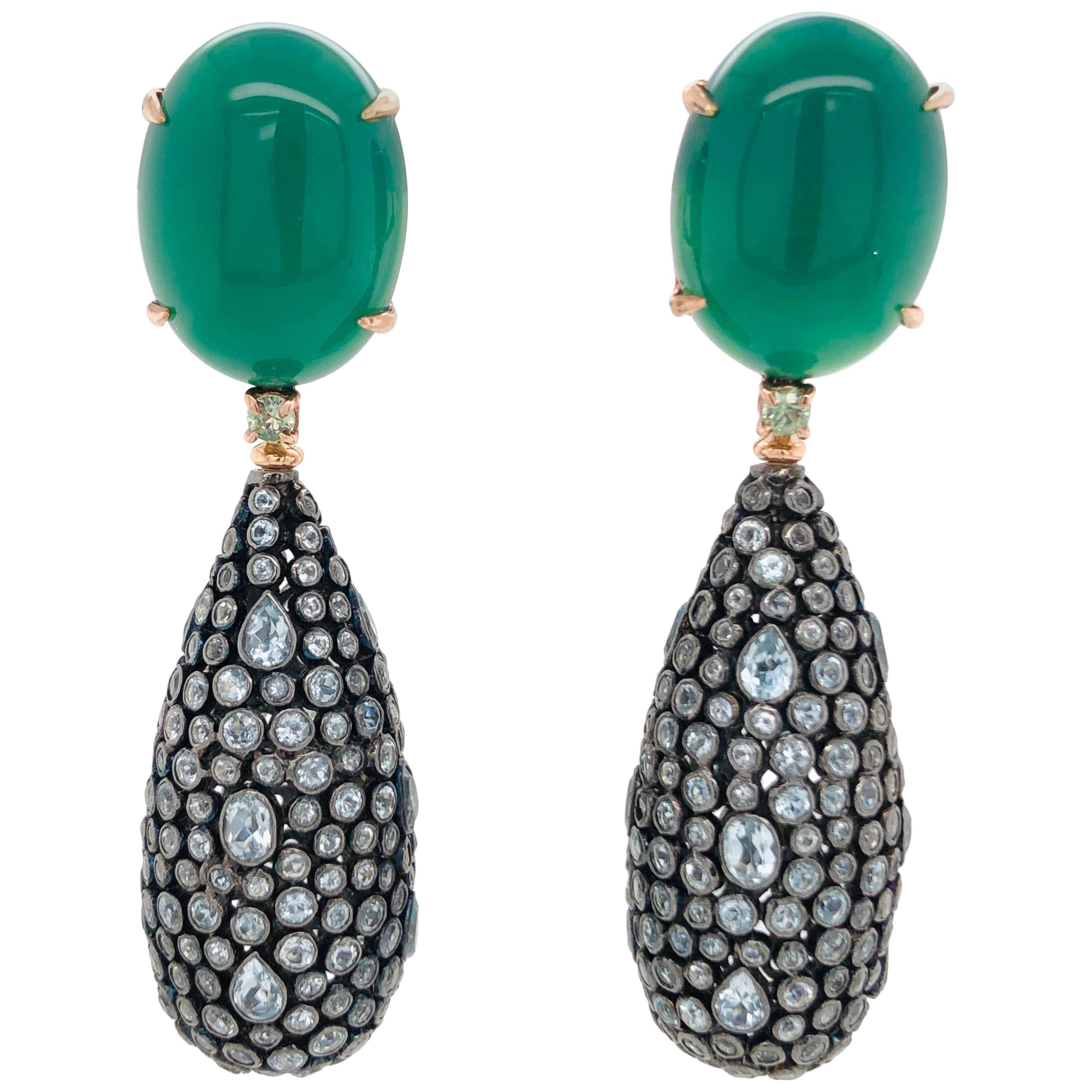 Green Agathe, Green Sapphires and London Sky Topaz with Rose Gold Earrings