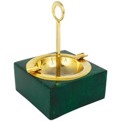 Green Aldo Tura Goatskin Brass Midcentury Ashtray with Handle, Italy, 1970s