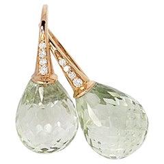 Green Amethyst 18 Karat Gold Earrings