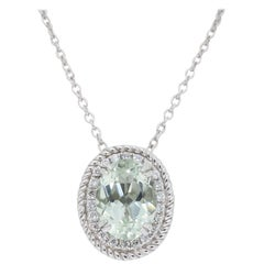 Green Amethyst and Diamond Halo Pendant Necklace