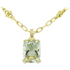 Green Amethyst and Diamond Pendant Necklace in 18 Karat Yellow Gold