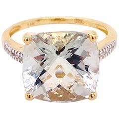 Green Amethyst and Diamond Ring, 14 Karat Gold Cushion Cut Genuine Gem Ring