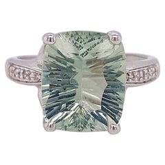 Green Amethyst and Diamond Ring, 4.6 Carat Cushion Cut Genuine Gem