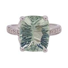 Green Amethyst and Diamond Ring, 4.6 Carat Cushion Cut Genuine Gem