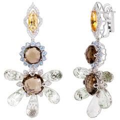 Green Amethyst, Blue Topaz, Citrine and Diamonds Rhodium-Plated Dangle Earrings