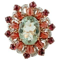 Green Amethyst, Garnets, Rose Gold and Silver, Retro Ring