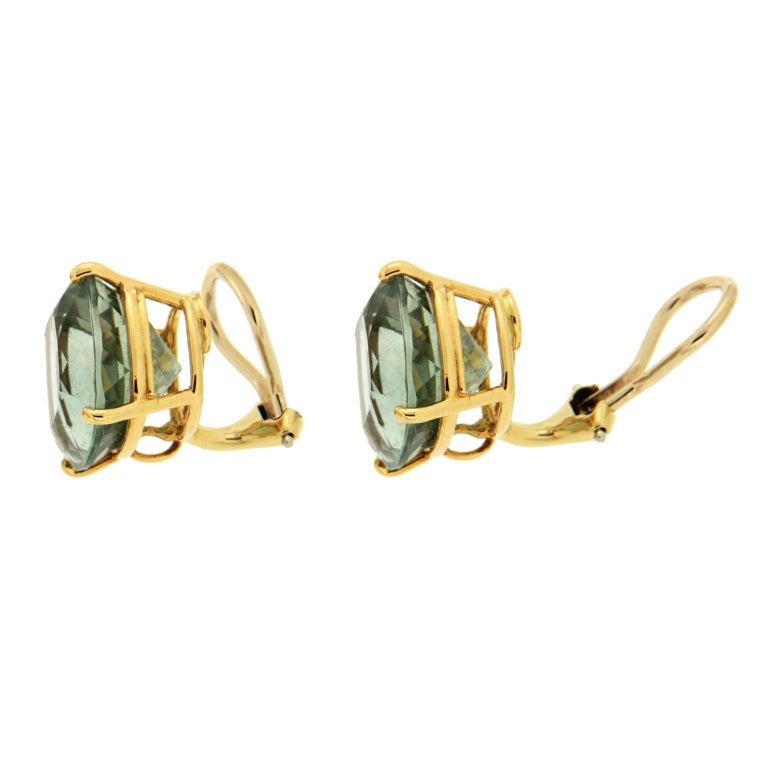 Women's Green Amethyst Gold Earrings For Sale