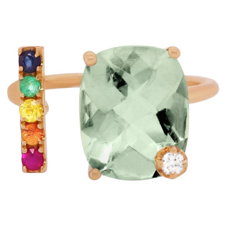 Green Amethyst, Multi-Color Sapphire Rainbow Diamond 14 Karat Gold Toi Moi Ring