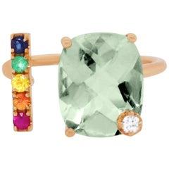 Green Amethyst, Multicolor Sapphire Rainbow Ring