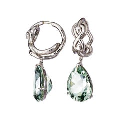 AENEA Green Amethyst Palladium Drop Earrings