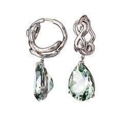 Green Amethyst Palladium Drop Earrings Aenea Jewellery