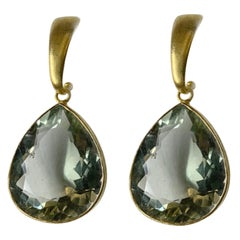 Green Amethyst Pear Earrings in 18 Karat Gold, A2 by Arunashi