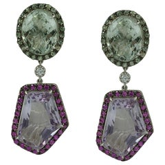 Green Amethyst, Pink Amethyst, Green Sapphire, Pink Sapphire, Diamond Earrings