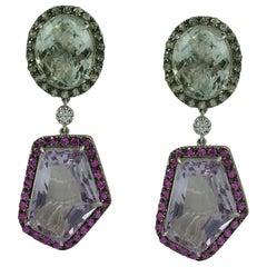 Green Amethyst, Pink Amethyst, Green Sapphire, Pink Sapphire, Diamond Earrings