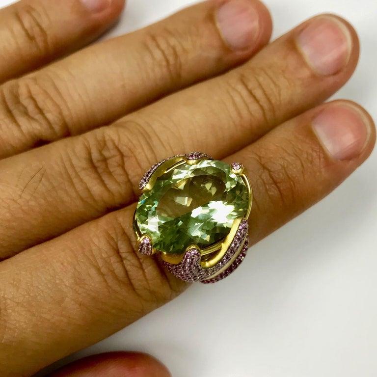 Green Amethyst Pink Sapphire 18 Karat Yellow Gold Ring For Sale 2