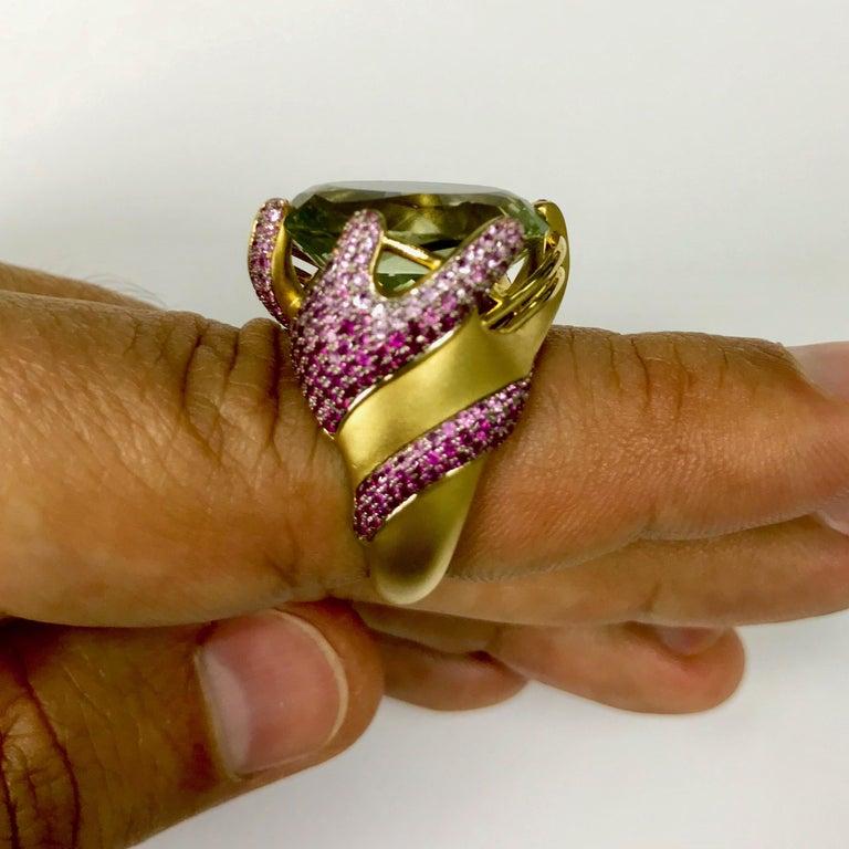 Green Amethyst Pink Sapphire 18 Karat Yellow Gold Ring For Sale 3