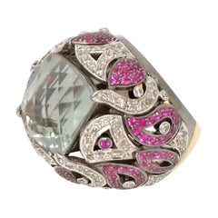 Green Amethyst Pink Sapphire and Diamond Ring