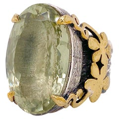 Green Amethyst Ring Original Design with 14 Ct Amethyst Oval Cut, Wide Band