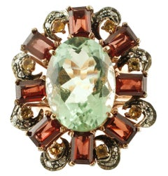 Green Amethyst Topazes Garnets Diamonds Rose Gold and Silver Cocktail Ring