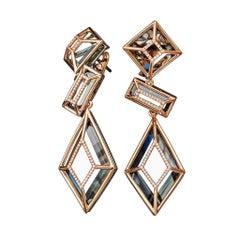 Green Amethyst  Yellow Gold White Diamond Dangle Earrings
