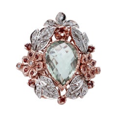 Green Amethyst,Garnets,Diamonds,Flower Design,Rose Gold and Silver Cocktail Ring