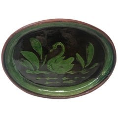 "Green and Black Oval ""Swam"" Art Pottery Plate"